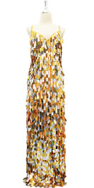 Long Handmade Gold And Silver Rectangular Paillette Sequin Dress (4005-005)