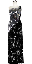 Long Handmade One-shouldered Rectangular Paillette Sequin Dress in Black and Silver Front View