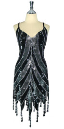 Short Patterned Handmade 10mm Flat Sequin Dress in Grey and Black with Jagged and Beaded Hemline front view
