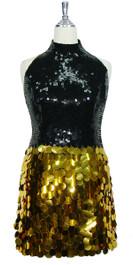Short Handmade 10mm Flat Black Sequin Dress with Gold Paillette Sequin Skirt Front view