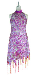 Short Swirl Patterned Handmade 8mm cupped Sequin Dress in Fuchsia and Silver with Jagged, Beaded Hemline front view