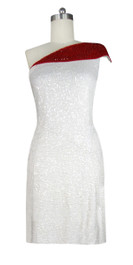 Short Patterned Handmade 8mm Flat Sequin Dress in White and Red front view