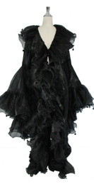 Long Organza Ruffle Coat with Oversized Sleeves and Highlight Sequins in Black from SequinQueen