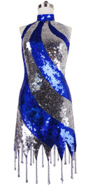 Short Handmade 10mm Flat Sequin Dress in Blue and Silver with a Chinese Collar and Beaded, Jagged Hemline front view