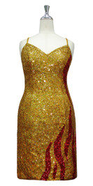Short Handmade 8mm Cupped Sequin In Gold & Red Sequin With Metallic & Hologram Sequins Front view