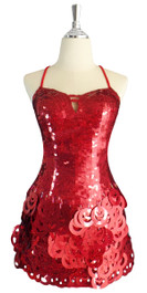 A short handmade sequin dress, with 10mm hologram red fishscale sequins front view