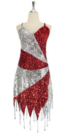 A short handmade sequin dress, in 8mm cupped metallic red and silver with silver faceted beads front view