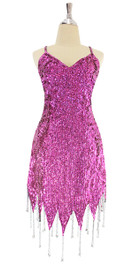A short handmade sequin dress, in 8mm cupped dark pink sequins with silver beads front view