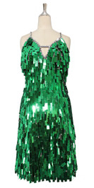 A short handmade sequin dress, in rectangular emerald green paillette sequins front view