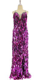 A long handmade sequin dress, in fuchsias diamond-shaped paillette hanging sequins and silver beads front view