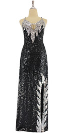 A long handmade sequin dress, in silver and black 8mm cupped metallic sequins front view