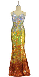 A long handmade sequin dress, in 10mm flat hologram silver, light gold, old gold and copper sequins front view