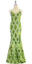 Long handmade sequin dress in flat metallic light green, hologram green and hologram silver sequins with faceted beads in a geometric pattern with a flared hemline front view