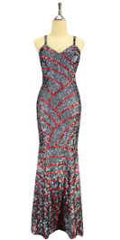 A long handmade sequin dress, in 8mm cupped hologram Silver and Red sequins front view