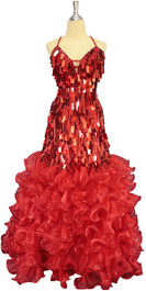 A long handmade sequin dress, in metallic red rectangular paillette sequins front view