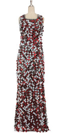 A long handmade sequin dress, in 20mm matt silver and metallic red paillette sequins with silver faceted beads front view