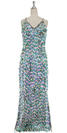 A long handmade sequin dress, in 20mm mixed iridescent pearl baby blue and pink-white paillette sequins with silver faceted beads front view