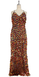 A long handmade sequin dress, in 20mm hologram red and copper mixed paillette sequins with silver faceted beads front view