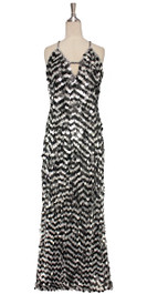 A long handmade monochrome sequin dress, in 20mm matt silver and black paillette sequins with silver faceted beads front view
