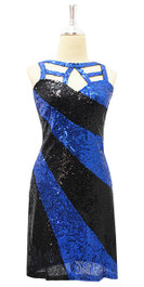 Short Blue And Black Sequin Fabric Dress Front View