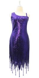 Short Dark Purple Sequin Fabric Dress With Jagged Beaded Hemline