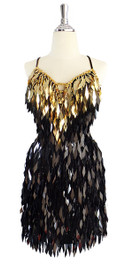 Short Handmade Rectangular Paillette Hanging Gold and Black Sequin Dress front view