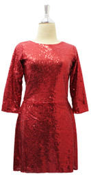 In-Stock Short 2mm Sequin Fabric Dress In Red With Sleeves