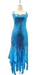 Long Turquoise Blue Sequin Fabric Dress With Organza Ruffles And Jagged Beaded Hemline