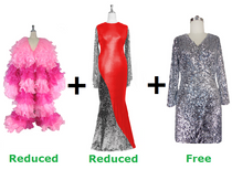Buy 1 Long Organza Ruffle Coat & 1 Long Sequin Fabric Dress With Discount Each And Get 1 Short Sequin Fabric Dress Free (SPCL-035)
