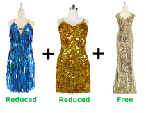 Buy 2 Short Handmade Dresses With Discount On Each And Get 1 Long Sequin Fabric Dress Free (SPCL-036)