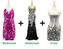 Buy 1 Short Handmade Dresses & 1 Long Handmade Dress With Discount On Each And Get 1 Short Sequin Fabric Dress Free (SPCL-037)