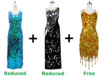 Buy 2 Long Handmade Sequin Dresses With Discounts On Each And Get 1 Short Handmade Sequin Dress Free (SPCL-039)