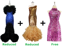 Buy Long Handmade Sequin With Ruffles & 1 Long Sequin Fabric With Ruffle Dress With Discounts On Each & Get 1 Short Sequin Fabric Dress Free (SPCL-043)