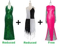 Buy 1 Long Handmade Sequin Dress & 1 Short Handmade Sequin Dress With Discounts On Each & Get 1 Long Sequin Fabric Dress Free (SPCL-046)