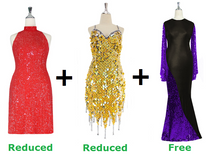 Buy 2 Short Handmade Sequin Dress With Discounts On Each & Get 1 Long Sequin Fabric Dress Free (SPCL-051)