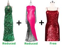 Buy 1 Long Handmade Sequin Dress & 1 Long Sequin Fabric Dress With Discounts On Each & Get 1 Short Sequin Fabric Dress Free (SPCL-057)