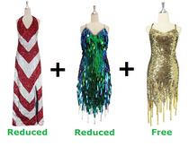 Buy 1 Long Handmade & 1 Short Handmade Sequin Dress With Discounts On Each & Get 1 Short Sequin Fabric Dress Free (SPCL-059)