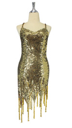 In-Stock Short Express Sequin Dress, In Baroque Gold Fabric With Jagged Beaded Hemline (STS2018-001)