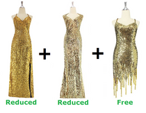 Buy 1 Long Handmade Dress & 1 Long Fabric Dress With Discounts On Each & Get 1 Short Sequin Fabric Dress Free (SPCL-065)