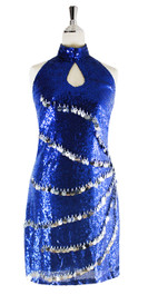 Short Dress In Dark Blue Sequin Fabric With Hand Sewn Silver Sequin - Front View