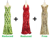 Buy 2 Long Handmade Sequin Dresses With Discounts On Each & Get 1 Long Sequin Fabric Dress Free (SPCL-068)