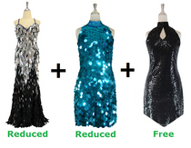 Buy 1 Long and 1 Short Handmade Sequin Dresses With Discounts On Each & Get 1 Short Sequin Fabric Dress Free (SPCL-069)