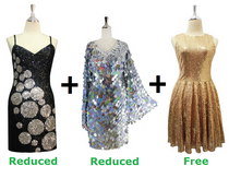 Buy 2 Short Handmade Sequin Dresses With Discounts On Each & Get 1 Short Sequin Fabric Dress Free (SPCL-072)