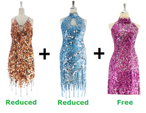 Buy 1 Short Handmade And 1 Short Express Sequin Dress With Discounts On Each & Get 1 Short Sequin Fabric Dress Free (SPCL-073)