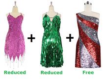 Buy 2 Short Handmade Dress With Discounts On Each & Get 1 Short Sequin Fabric Dress Free (SPCL-074)