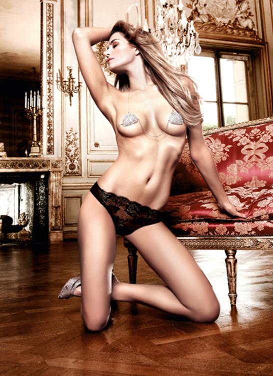 Baci Black Flower Lace Panties