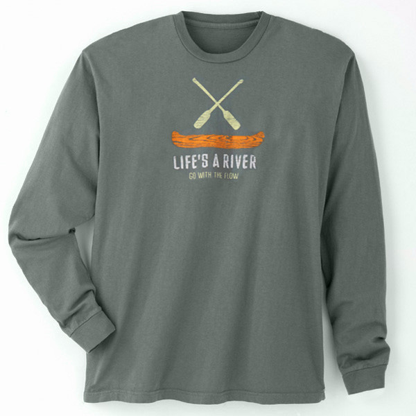 Men's Long Sleeve Tees - Go With the Flow Marshland
