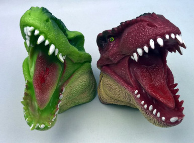 Open wide! Green and brown dino.