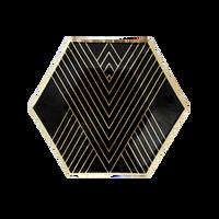 Noir Black Hexagon Small Plates