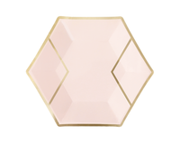 Blush Pink and Gold Hexagon Plates- Small